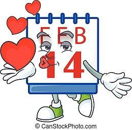 rolig, tecknad film, tecken, ansikte, holdingen, 14, kalender, hjärta, valentinbrev