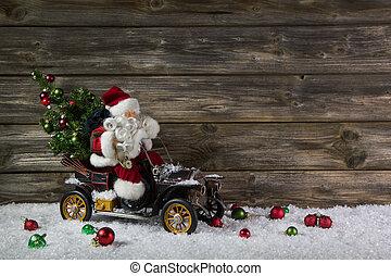 rolig, trä, jul, bakgrund, med, jultomten, för, a, kupong, eller, co