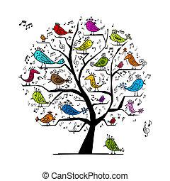 rolig, träd, med, sjungande, fåglar, för, din, design