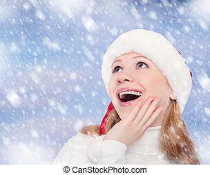 rolig, vinter, bakgrund, flicka, hatt, jul, lycklig