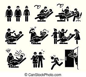 roliga folk, dental, tandläkare, klinik, reactions.