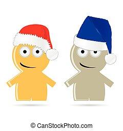 roliga folk, illustration, vektor, hatt, jul, ikon