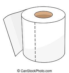 roll., banheiro, 8., isolado, llustration, eps, papel, vetorial, caricatura