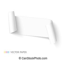 roll., dolgozat, gyakorlatias, vektor, görbe, fehér, transzparens, template., szalag