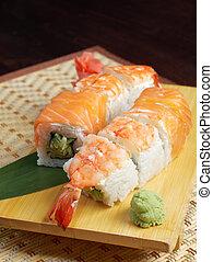.roll, fatto, salmone, gamberetto