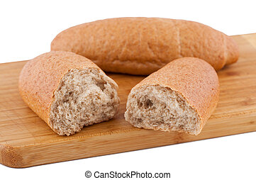 Roll halves on a board white background.