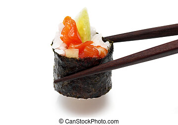 roll in the chopsitcks - Roll with salmon and cucumber...