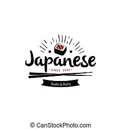 roll., lettrage, style, emblème, sushi, japonais nourriture...