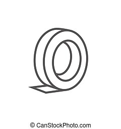 Roll of adhesive tape line icon.