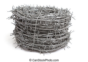 Roll of barb wire on white background