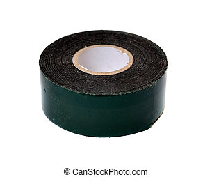 Roll of black duct tape on a white background
