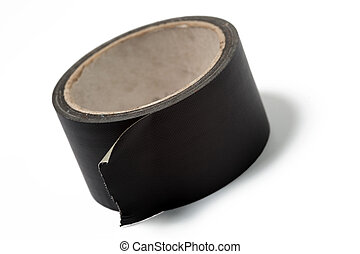 roll of black duct tape on white background