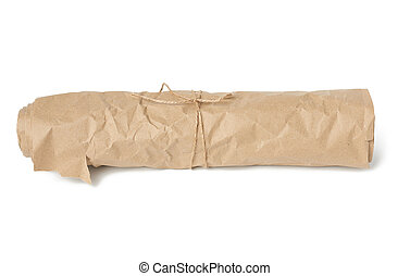 roll of brown wrapping paper tied with a brown rope