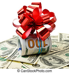 Roll of cash with red bow