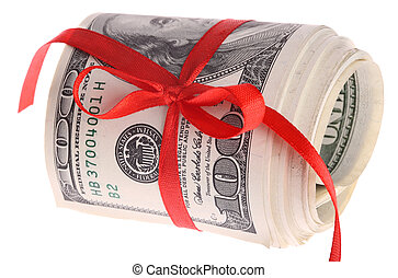 Roll of dollar banknote money.