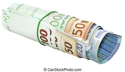 Roll of euro banknotes