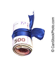 Roll of euro money and blue bow isolated on white background