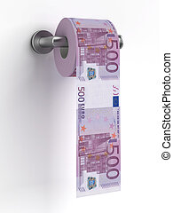Roll of euros bills on a toilet paper