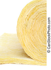 Roll of fiberglass insulation material, isolated on white background.