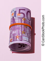 roll of five hundred euro banknotes