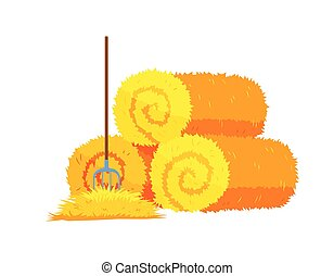 Roll of hay.Round hay bales. Dried haystack with fork isolated on white background. Farming haymow bale hayloft vector illustration, haystack, hayrick.