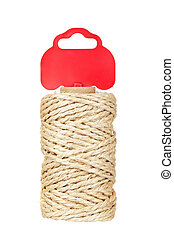 Roll of hemp rope with red tag