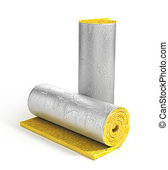 Roll of insulation wool for construction. Heating materials. 3d illustration