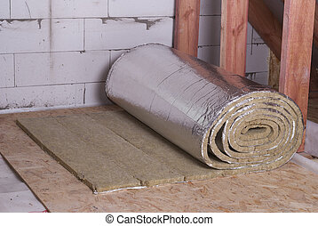 roll of mineral wool with foil
