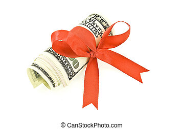 Roll of money and red bow