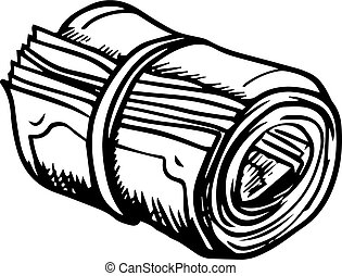 Roll of money rolled up with rubber band isolated on white background, for business or finance design. Sketch style icon