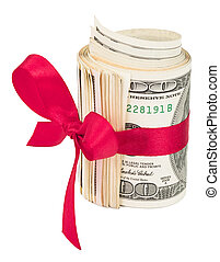 Roll of money with a red bow