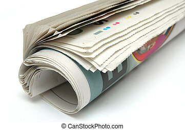 Roll of Newspaper - Roll of newspaper on white background