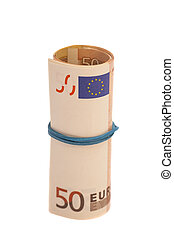 Roll of one Fifty euro banknotes with a rubber band, isolated on
