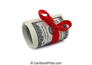 roll of one hundred dollar bills tied with red ribbon