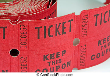 Roll of Raffle Tickets - Image of a roll of raffle tickets...