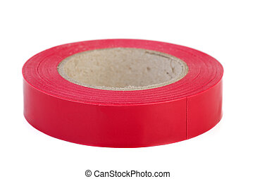 Roll of red insulation tape isolated on white background
