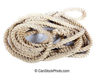 roll of rope on white backgraund