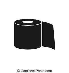 Roll of toilet paper icon in flat style isolated on white ...