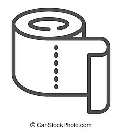 Roll of toilet paper line icon, Hygiene routine concept, Roll paper towel sign on white background, toilet paper icon in outline style for mobile concept and web design. Vector graphics.