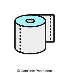 Roll of toilet paper, napkins flat color line icon.