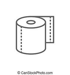 Roll of toilet paper, napkins line icon.