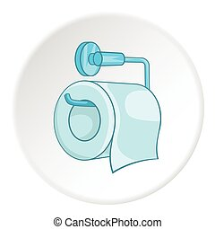 Roll of toilet paper on a metal holder icon