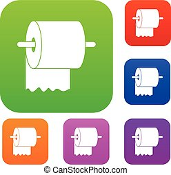 Roll of toilet paper on holder set color collection