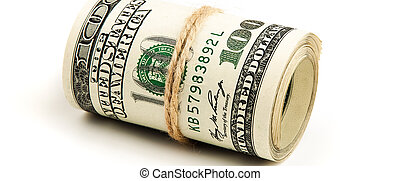 Roll of US dollars on a white background, isolated.