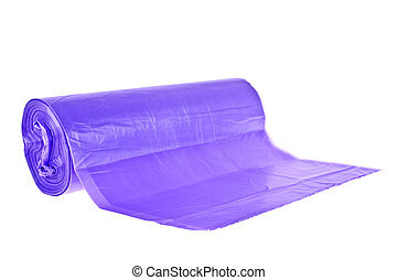 Roll of violet plastic garbage bags isolated on white background