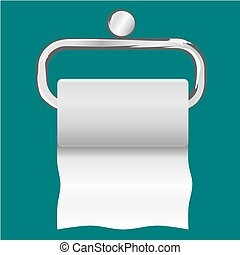 Roll of white toilet paper hanging on a chrome toilet roll holder.
