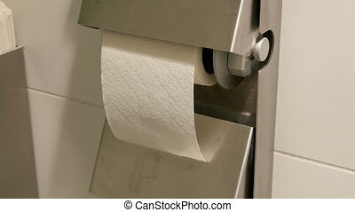 A roll of white toilet paper in the cubicle of a public toilet