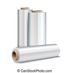 Roll of wrapping plastic stretch film on white background. ...