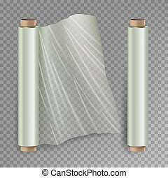 Roll Of Wrapping Stretch Film . Opened And Closed Polymer...