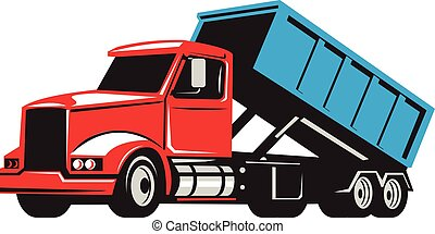 Illustration of a roll-off truck with container bin on back viewed from side set on isolated white background done in retro style.
